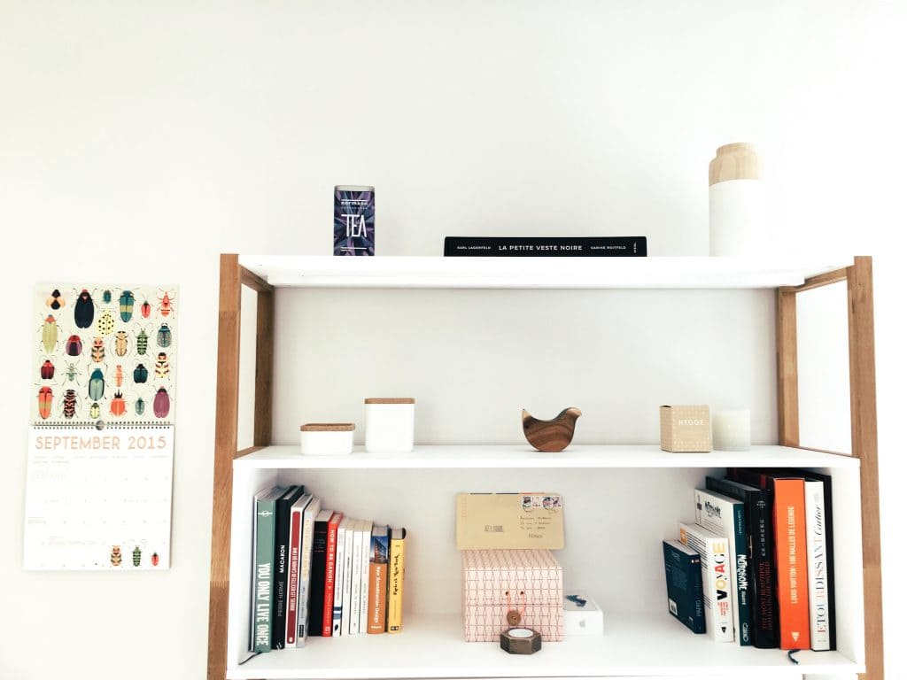 spring clean fast/ tidy shelves