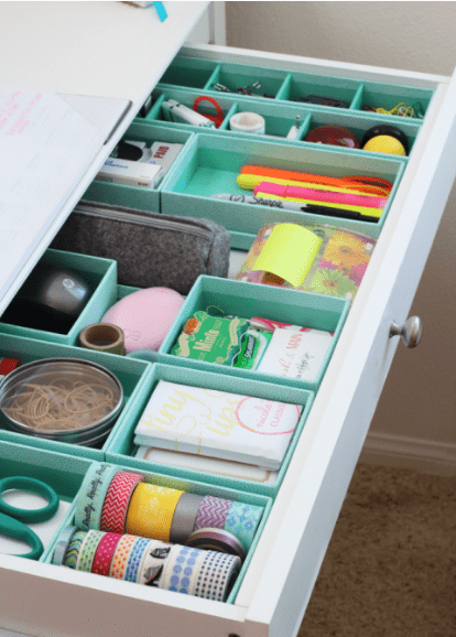 organised desk drawers