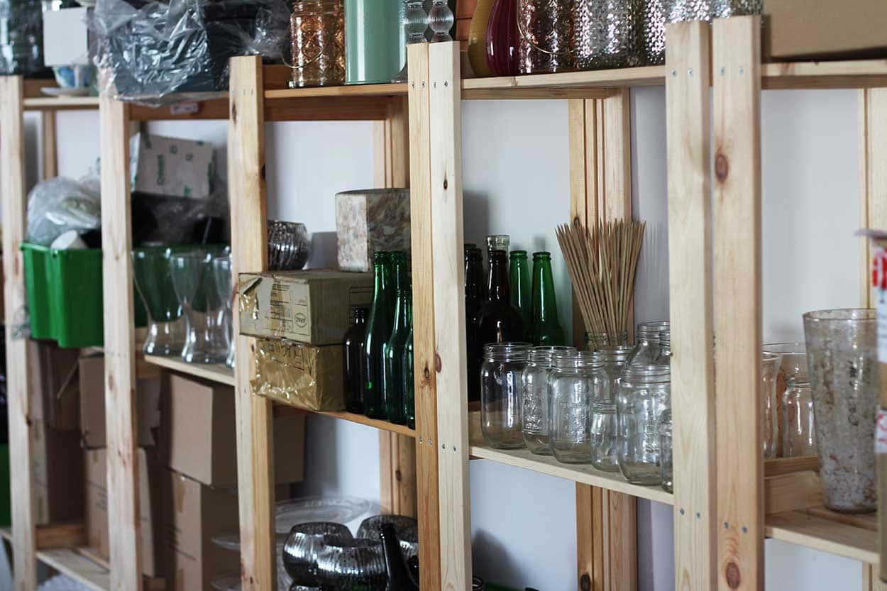 Successful Business Betty Bluebell - bottles, jars and accessories are stored in Emma's work space at Storage Vault in Cambuslang.