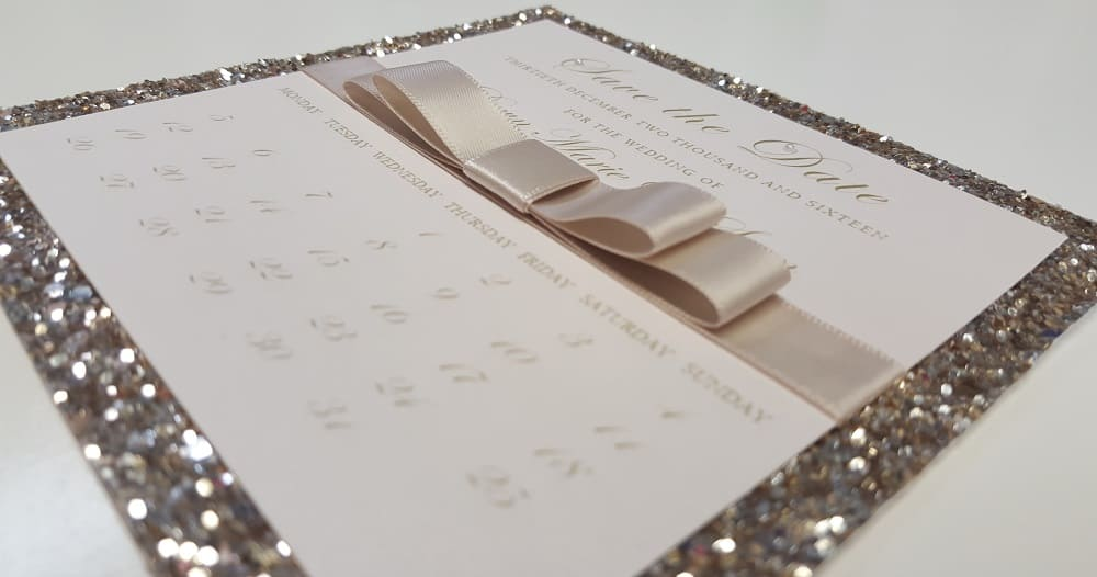 Wedding Business Dollybird Stationery Are Living The Dream At Storage Vault Work Space - champagne glitter save the date