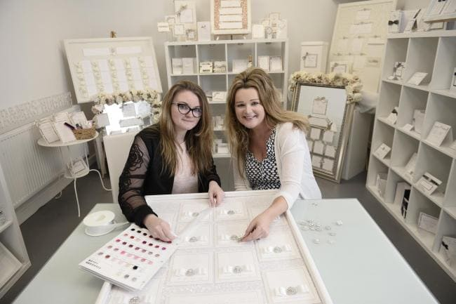 Wedding Business Dollybird Stationery Are Living The Dream At Storage Vault Work Space - Dawn and Elaine in their showroom