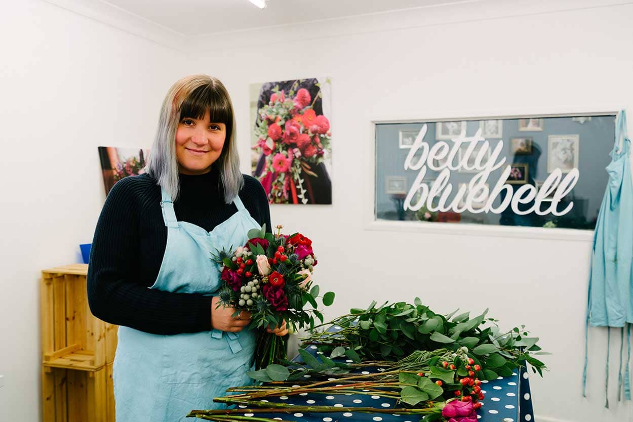 Successful Business Betty Bluebell - Emma Lawson, owner of wedding florist Betty Bluebell in her work space at Storage Vault.